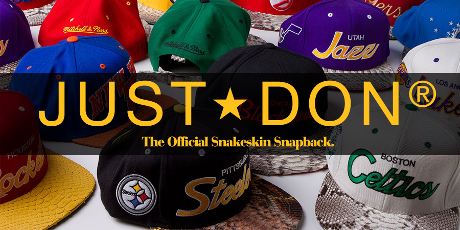 """3a6b335aed6 Just Don (Don C.) """"snakeskin snapback"""" details."""
